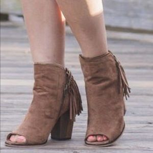 Frilly open toe booties